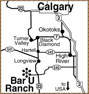 Area Map for the Bar U Ranch National Historic site - click to enlarge