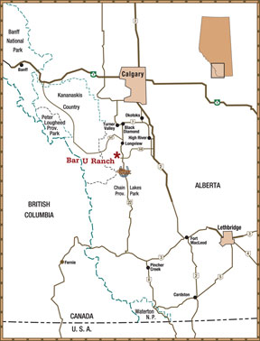 Map showing location of the Bar U Ranch National Historic site - click to enlarge